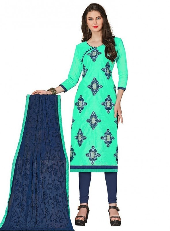 Viva N Diva Sea  Green Colored Chanderi Salwar Suit
