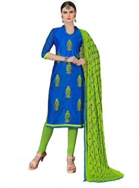 Viva N Diva Royal Blue Colored Chanderi Salwar Suit