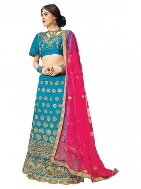Aasvaa SKY BLUE Color SILK Designer Wedding Lehenga Choli