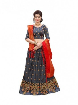 Aasvaa GREY Color SOFT TIFI SILK Designer Wedding Lehenga Choli