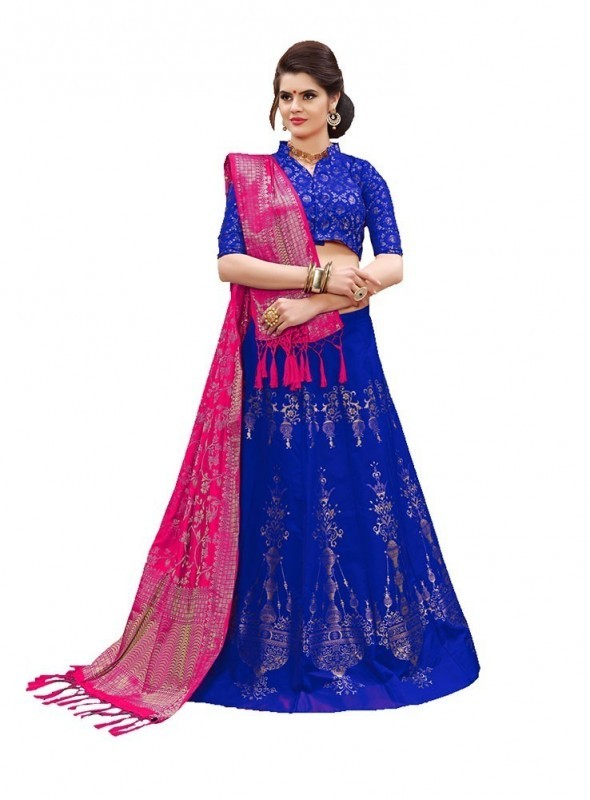 Aasvaa ROYAL BLUE Color BANARASI SILK Designer Wedding Lehenga Choli