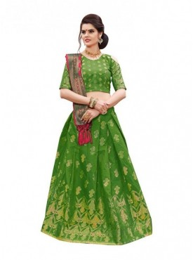 Aasvaa PARROT Green Color BANARASI SILK Designer Wedding Lehenga Choli