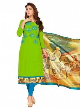 Viva N Diva Parrot Green Colored South Cotton Salwar Suit