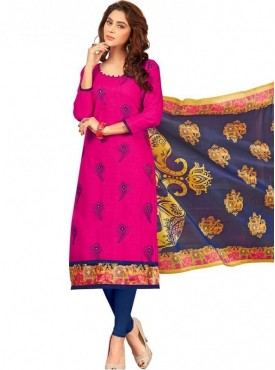 Viva N Diva Pink Colored South Cotton Salwar Suit