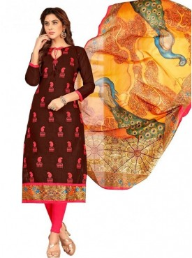 Viva N Diva Brown Colored South Cotton Salwar Suit