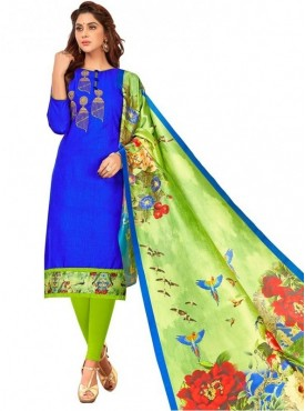 Viva N Diva Royal Blue Colored South Cotton Salwar Suit