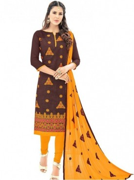 Viva N Diva Brown Colored Chanderi Salwar Suit