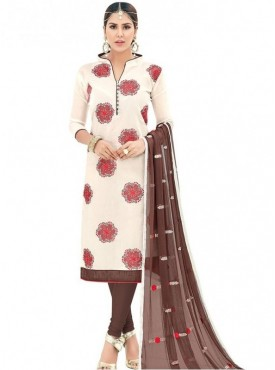 Viva N Diva Off White Colored Chanderi Salwar Suit