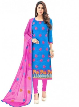 Viva N Diva Blue Colored Chanderi Salwar Suit