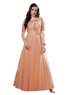 Aasvaa Glamour Peach Net Embroidered Stitched Gown (NMPRSA02_XL)