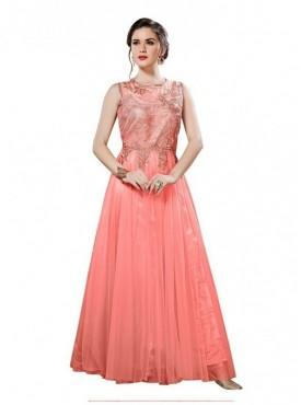 Aasvaa Dazzling Peach Net Embroidered Party wear Stitched Gown (NMPRSA03_XL)