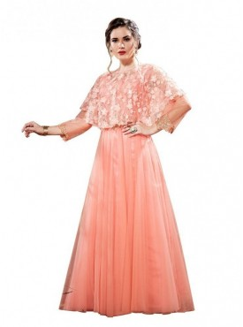 Aasvaa Peach Net Party wear Anarkali Stitched Gown (NMPRSA04_XL)