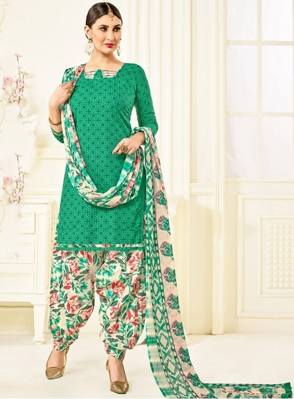 Roykals Textile Green Color Cotton Printed Patiala Salwar Suits