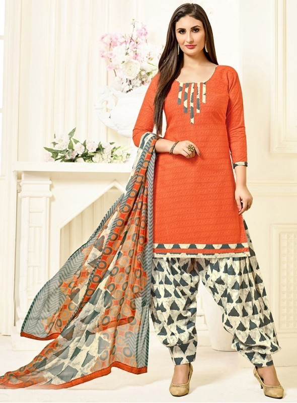 Roykals Textile Orange Color Cotton Printed Patiala Salwar Suits