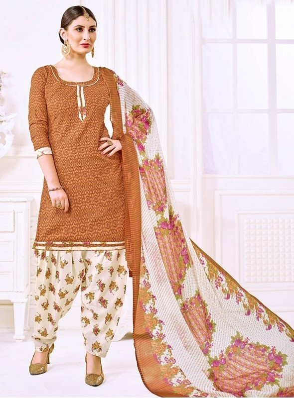 Roykals Textile Brown Color Cotton Printed Patiala Salwar Suits