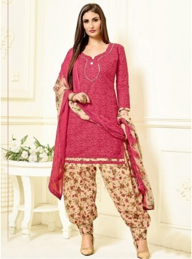 Roykals Textile Red Color Cotton Printed Patiala Salwar Suits