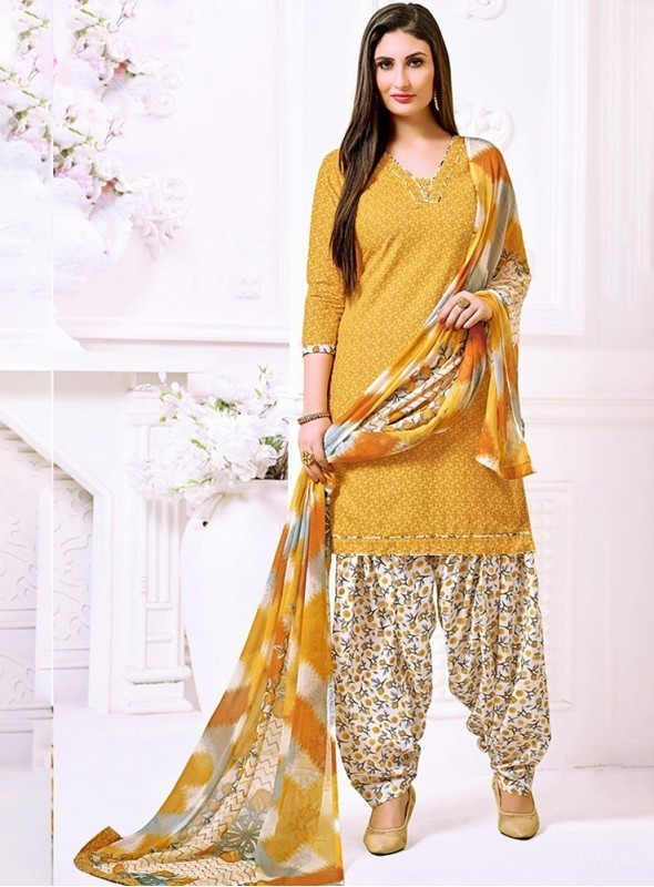 Roykals Textile Yellow Color Cotton Printed Patiala Salwar Suits
