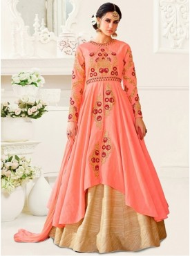 UMANG NX Peach Color Art Silk Embroidered Semi Stitched Salwar Suit
