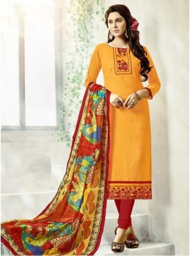 UMANG NX Yellow Color Cotton Printed Unstitched Salwar Suit