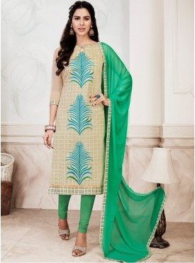 UMANG NX Off White Color Chanderi Silk Embroidered Unstitched Salwar Suit