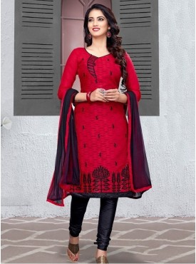 UMANG NX Red Color Cotton Jacquard Embroidered Unstitched Salwar Suit
