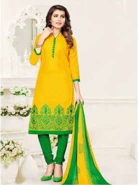 UMANG NX Yellow Color Cotton Jacquard Embroidered Unstitched Salwar Suit