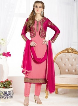 UMANG NX Peach Color Georgette Embroidered Unstitched Salwar Suit