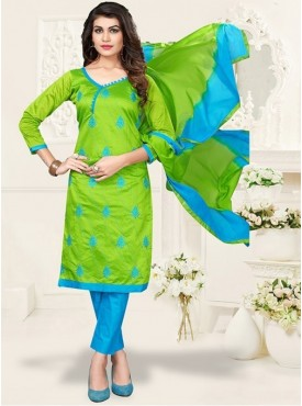 UMANG NX Green Color Acrylic Embroidered Unstitched Salwar Suit