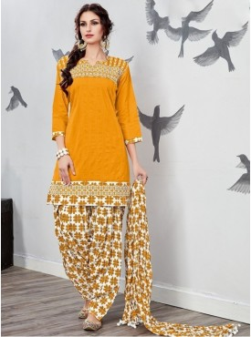 UMANG NX Yellow Color Cotton Printed Stitched Salwar Suit