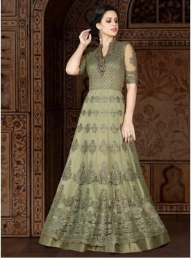 UMANG NX Mint Green Color Net Embroidered Semi Stitched Salwar Suit