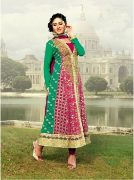 UMANG NX Pink Color Georgette Embroidered Semi Stitched Salwar Suit