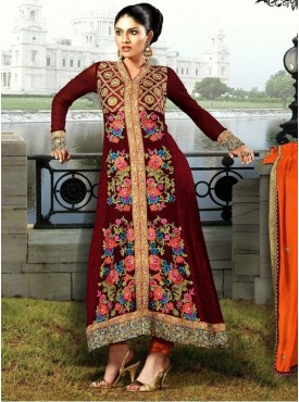 UMANG NX Brown Color Georgette Embroidered Semi Stitched Salwar Suit