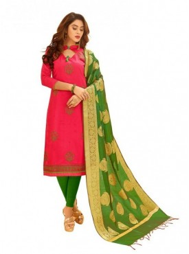 Viva N Diva Fuchia Pink Colored Glace Cotton Salwar Suit