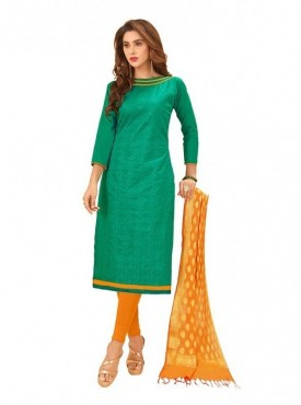Viva N Diva Green Colored Glace Cotton Salwar Suit
