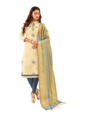 Viva N Diva Cream Colored Glace Cotton Salwar Suit