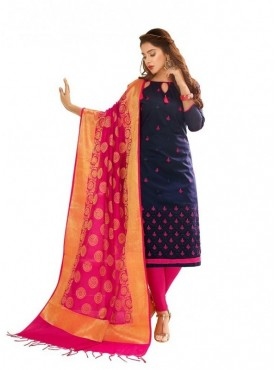 Viva N Diva Navy Blue Colored Glace Cotton Salwar Suit