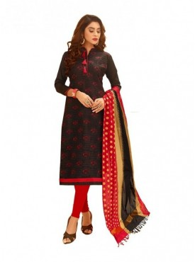 Viva N Diva Black Colored Glace Cotton Salwar Suit