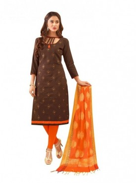 Viva N Diva Brown Colored Glace Cotton Salwar Suit