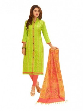 Viva N Diva Parrot Green Colored Glace Cotton Salwar Suit