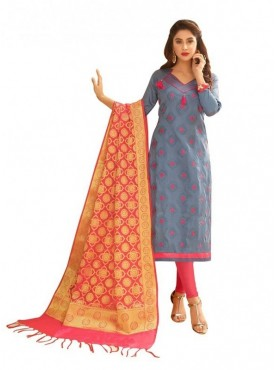 Viva N Diva Grey Colored Glace Cotton Salwar Suit