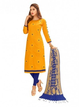 Viva N Diva Yellow Colored Glace Cotton Salwar Suit