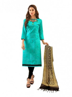 Viva N Diva Sea Blue Colored Glace Cotton Salwar Suit
