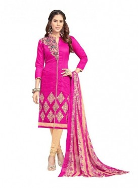 Viva N Diva Dark Pink Colored Chanderi Salwar Suit