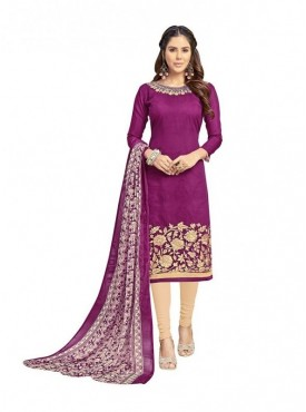 Viva N Diva Magenta Colored Chanderi Salwar Suit