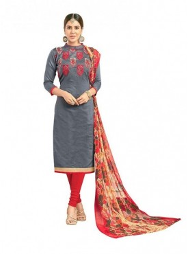 Viva N Diva Grey Colored Chanderi Salwar Suit