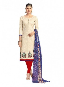 Viva N Diva Cream Colored Chanderi Salwar Suit