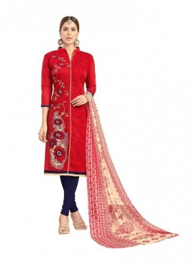 Viva N Diva Red Colored Chanderi Salwar Suit