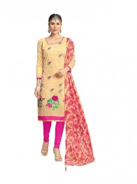 Viva N Diva Beige Colored Chanderi Salwar Suit