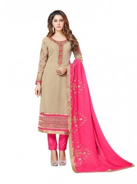 Viva N Diva Beige Colored Georgette Salwar Suit