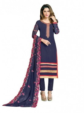 Viva N Diva Navy Blue Colored Georgette Salwar Suit